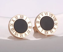 Load image into Gallery viewer, Roman Numeral Black & Gold Stud Earrings