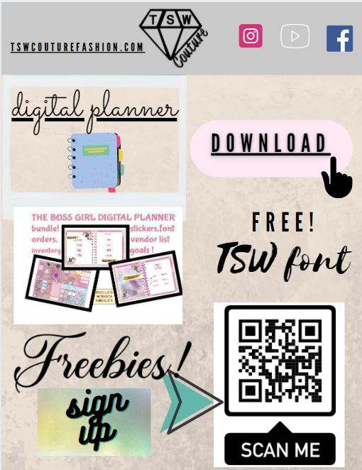 DIGITAL PLANNER BUNDLE Stickers and Free Font