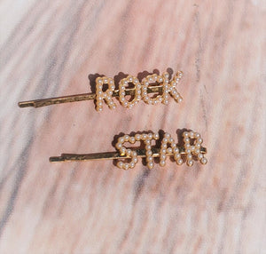 ROCK & ROLL PEARL & GOLD HAIR CLIPS