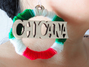 As Featured on BuzzFeed-CHICANA HOOPS Laser Cut Wood wrapped in Red, White, and Green Yarn Earrings Large 3""