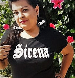 SIRENA Black T-shirt Woman's Shirt Mermaid HTV hand drawn design