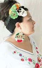 Load image into Gallery viewer, As Featured on BuzzFeed-CHICANA HOOPS Laser Cut Wood wrapped in Red, White, and Green Yarn Earrings Large 3""