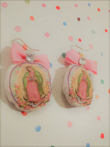 "VIRGEN DE GUADALUPE Plushie oft Fabric Dangle Earrings 1"" We can personalize them"