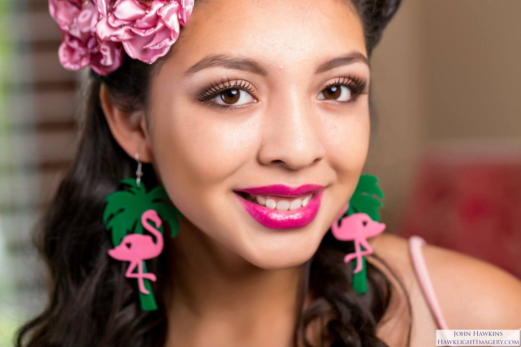 PINK FLAMINGO Pin Up TIKI Style Custom Laser Cut and Engraved pair of Dangle Earrings