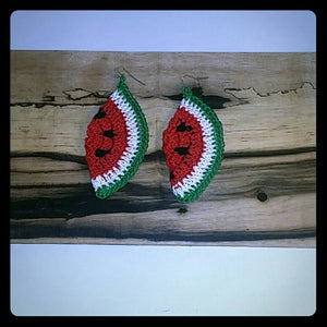 "SUMMER SWEET WATERMELON 1 Pair of Hand Crochet 3"" ripe just in time for those hot summer nights"