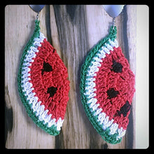 "Load image into Gallery viewer, SUMMER SWEET WATERMELON 1 Pair of Hand Crochet 3"" ripe just in time for those hot summer nights"