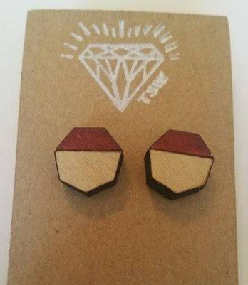Geometric Dipped Wood Stud Earrings