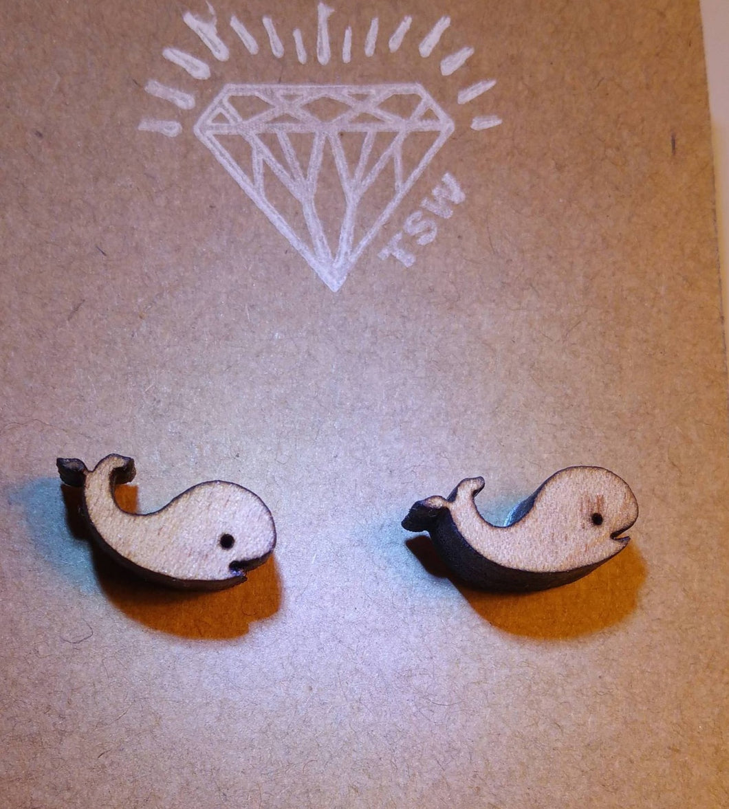 Whale of a Tail Wood Stud Earrings