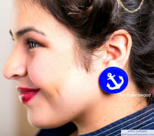 Load image into Gallery viewer, PIn up Sailor Anchor Earrings