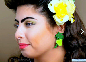 GREEN PEAR & PALM Tree Pin Up Stud Earrings