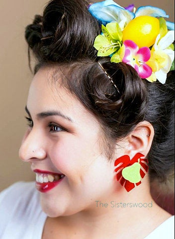 Pear and Leaf Pin up earrings