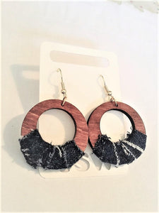 DENIM  & WOODEN HOOPS Laser Cut and Hand Stained Wooden Hoop Earrings with Upcycled Jean Denim wrapped on wood