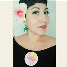Load image into Gallery viewer, PINK FLAMINGO Pin Up TIKI Style Custom Laser Cut and Engraved pair of Dangle Earrings