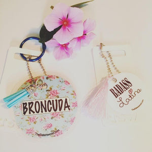 "BRONCUDA Flower Laminated Purse or Planner Tag 3"" with Tassle"