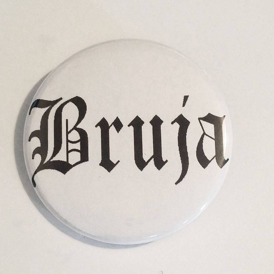 BRUJA PIN BUTTON black font on white 1.5