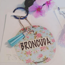 "Load image into Gallery viewer, BRONCUDA Flower Laminated Purse or Planner Tag 3"" with Tassle"