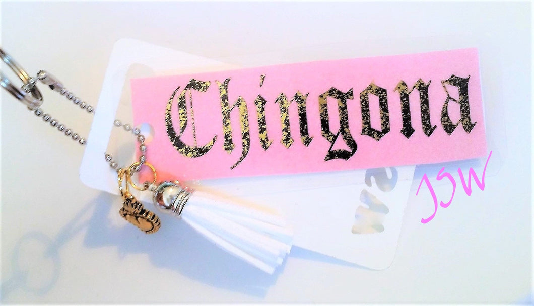 CHINGONA GOLD FOIL Laminated Purse or Planner Tag 3