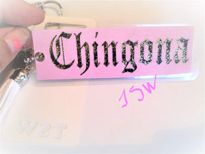 "CHINGONA GOLD FOIL Laminated Purse or Planner Tag 3"" with Tassle and Gold Heart"