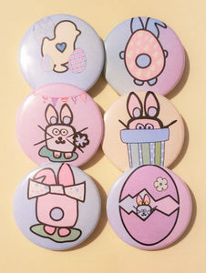 PASTEL CAKE PINS - Set of 6 Easter Bunny and Eggs Spring Buttons Pins