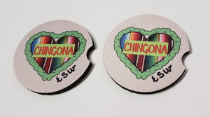 2 CHINGONA Zarape Heart Car Coasters 1 Pair