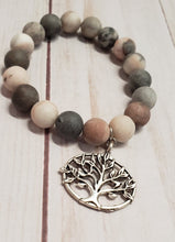 Load image into Gallery viewer, NATURAL STONE Beaded Bracelet with Tree of Life Charm