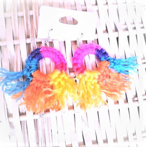 HAND CROCHET MULTI Colored Tassel Hoop Earrings 2.5""