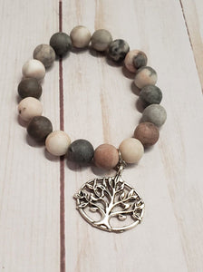 NATURAL STONE Beaded Bracelet with Tree of Life Charm