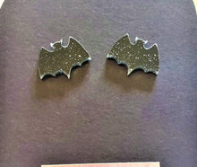 Load image into Gallery viewer, VAMPIRE BAT GLITTERY Mini Earrings Laser cut and Laser Engraved Stud Earrings