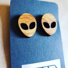 Load image into Gallery viewer, ALIEN MINI Wooden Stained Stud Earrings
