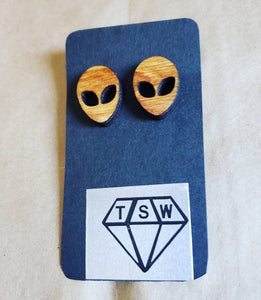 ALIEN MINI Wooden Stained Stud Earrings