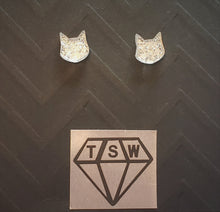 Load image into Gallery viewer, KITTY CAT GLITTERY Stud Earrings