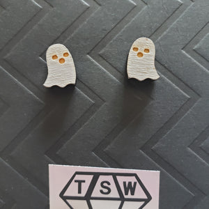 GHOST Mini Wood Hand Painted Earrings