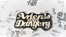 "Load image into Gallery viewer, 3"" Mirrored Laser Cut Acrylic DOUBLE LAYER NAMEPLATE Cabochon with Black Base"