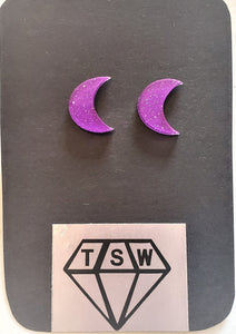 HALF MOON GLITTERY Stud Earrings