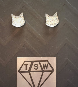 KITTY CAT GLITTERY Stud Earrings