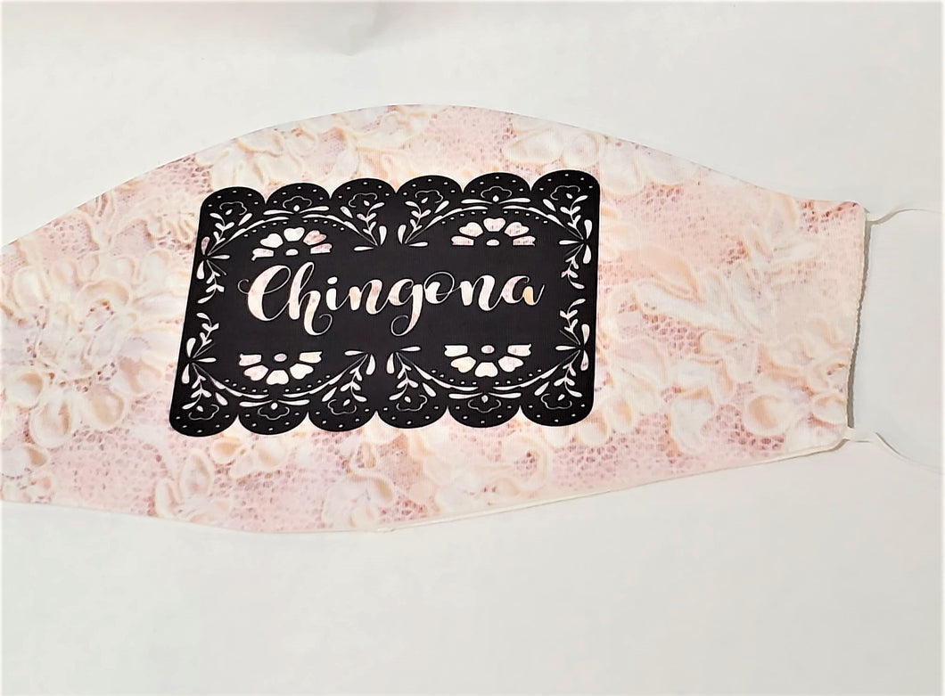 CHINGONA PINK LACE Papel Picado Print Adult Face Mask Double Laye