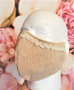 CORDUROY BEIGE LACE with pearls Adult Face Mask Double Layer Face Cover Washable Reusable Made in Orange, California
