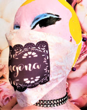Load image into Gallery viewer, CHINGONA PINK LACE Papel Picado Print Adult Face Mask Double Laye