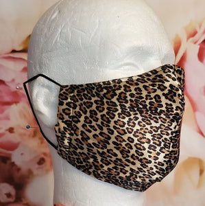 CHEETAH SILKY BROWN Adult Face Mask Double Layer Face Cover Washable Reusable Made in Orange, California