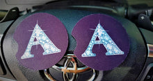 Load image into Gallery viewer, 2 PINK TINT BLING Car Coasters 1 Pair Diamond Letters 1 Pair Any Color Car Accessories Car Bling Coaster