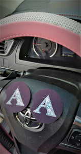 2 PINK TINT BLING Car Coasters 1 Pair Diamond Letters 1 Pair Any Color Car Accessories Car Bling Coaster