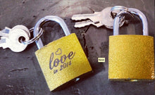 Load image into Gallery viewer, ETCHED GOLD LOCK  & 2 keys Custom Laser Engraved Medium 1.5 or Large 2.5 inch  Lock Custom Quote or Name or Date Front and Back