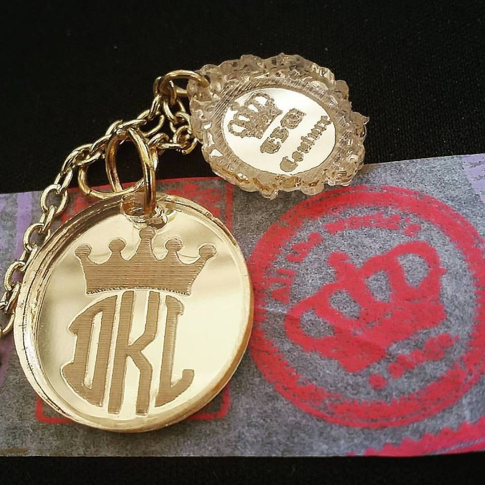 MONOGRAM ROUND Custom Laser Cut and Engraved Bar Necklace Mirror Acrylic