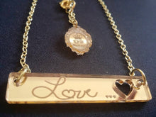 Load image into Gallery viewer, MONOGRAM ROUND Custom Laser Cut and Engraved Bar Necklace Mirror Acrylic