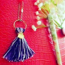 Load image into Gallery viewer, Handmade multi-colored yarn TASSELS with CUSTOM acrylic or wood laser cut charms .5""