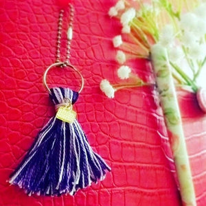 Handmade multi-colored yarn TASSELS with CUSTOM acrylic or wood laser cut charms .5""