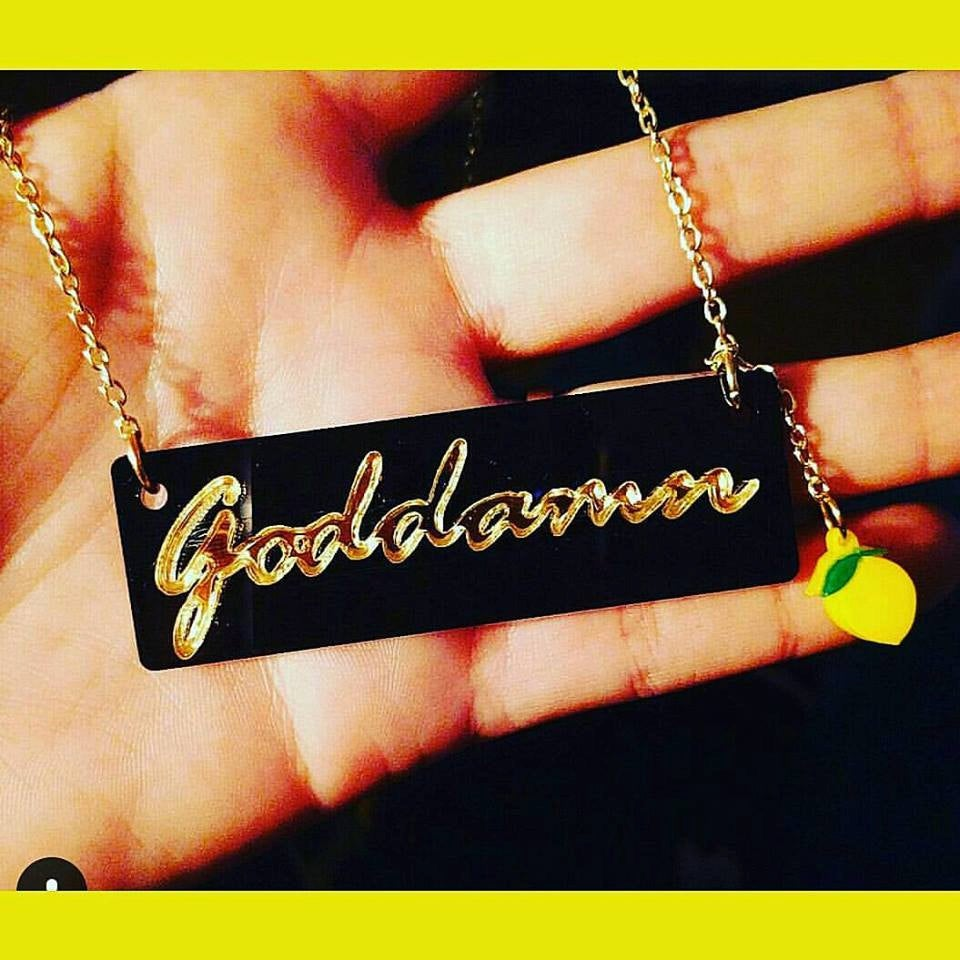 Goddamn Gold Mirror Laser cut Acrylic Necklace with Lemon Emoji 3