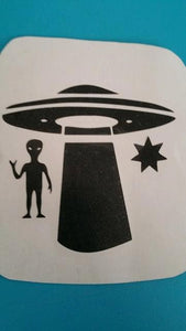 CUSTOM VINYL Decal Design Choose your Colors and Design UFO, Star and Alien