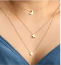 Load image into Gallery viewer, Moon, Heart and Stars Necklace