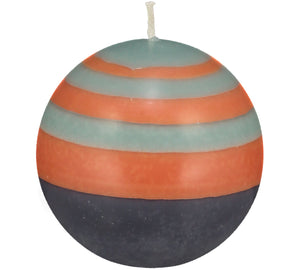 SMALL STRIPPED BALL CANDLE - Marigold, Gunmetal & Opaline